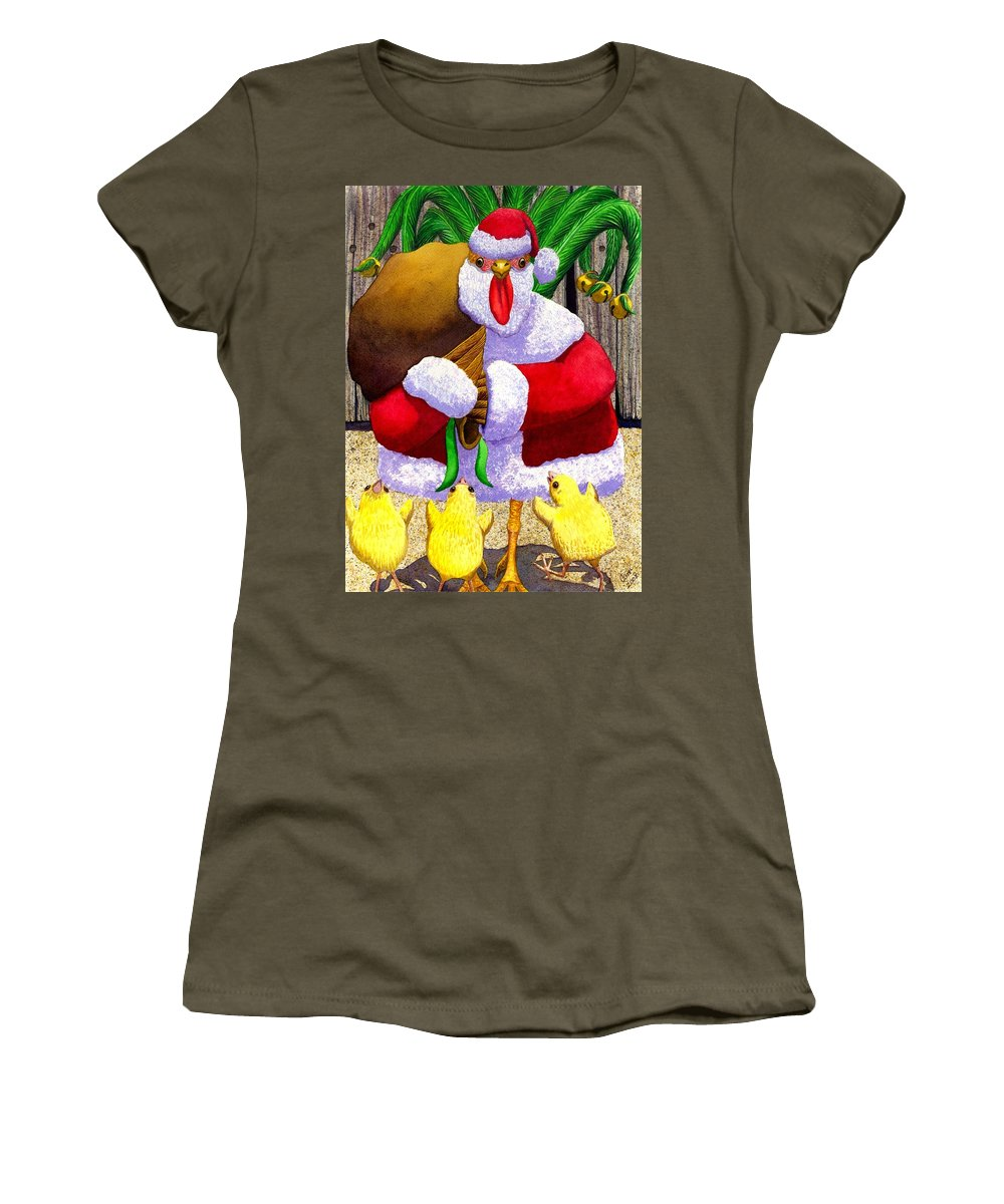 Christmas Women's T-Shirt (Athletic Fit) featuring the painting Santa Chicken by Catherine G McElroy