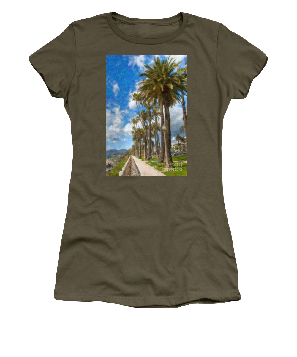 Santa Monica Ca Palisades Park Bluffs Women's T-Shirt featuring the photograph Santa Monica Ca Palisades Park Bluffs by David Zanzinger