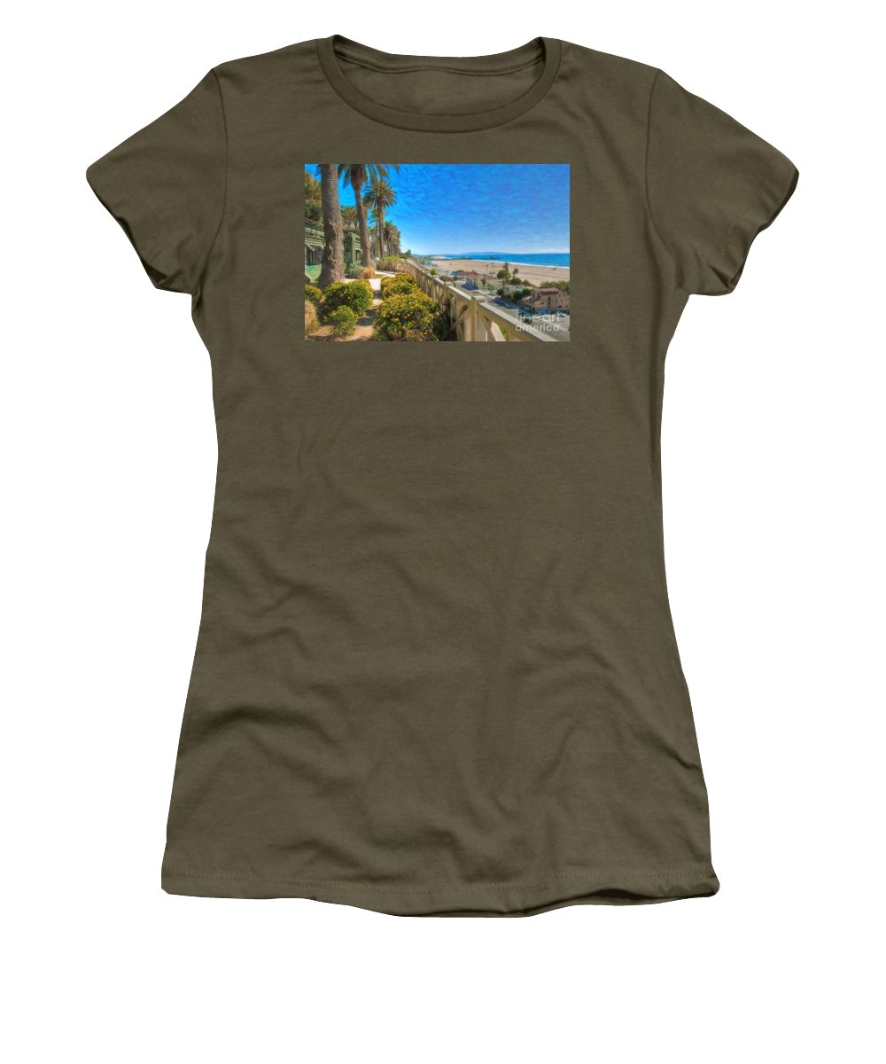 Santa Monica Women's T-Shirt (Athletic Fit) featuring the photograph Santa Monica Ca Palisades Park Bluffs Gold Coast Luxury Houses by David Zanzinger