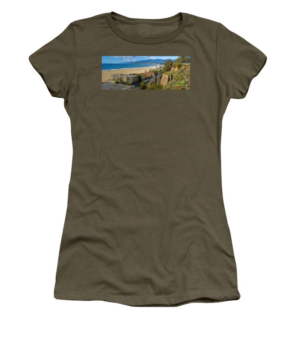 Santa Monica Women's T-Shirt featuring the photograph Santa Monica Ca Steps Palisades Park Bluffs by David Zanzinger