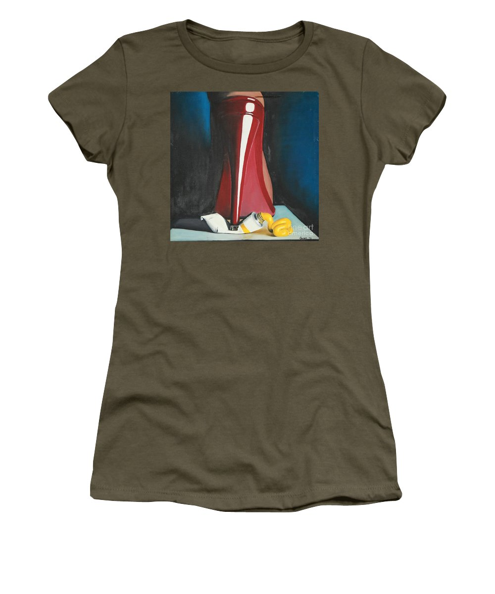 Sassy Shoe Women's T-Shirt (Athletic Fit) featuring the painting Sassy Shoe by Jacqueline Athmann