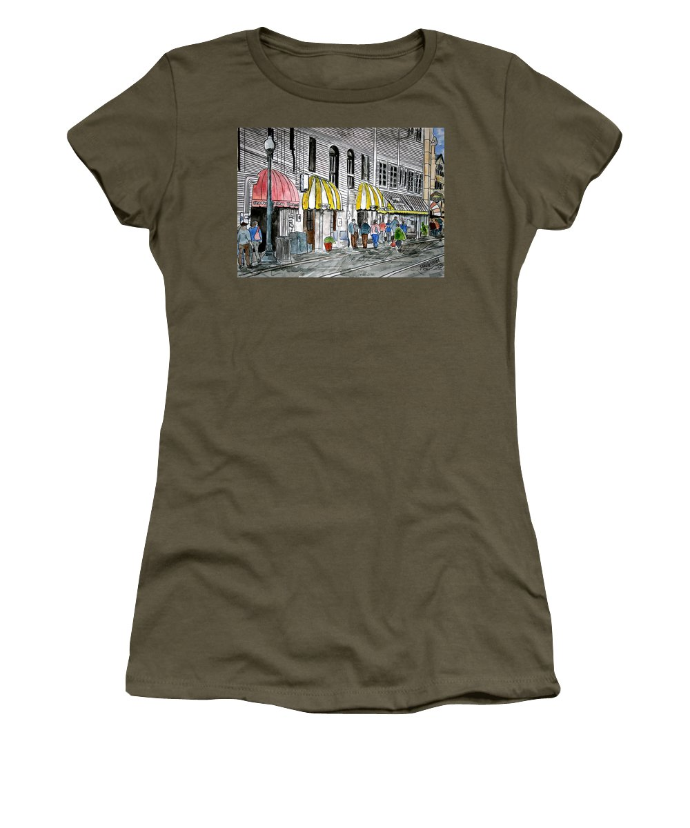 Cityscape Women's T-Shirt (Athletic Fit) featuring the painting Savannah Georgia River Street 2 Painting Art by Derek Mccrea