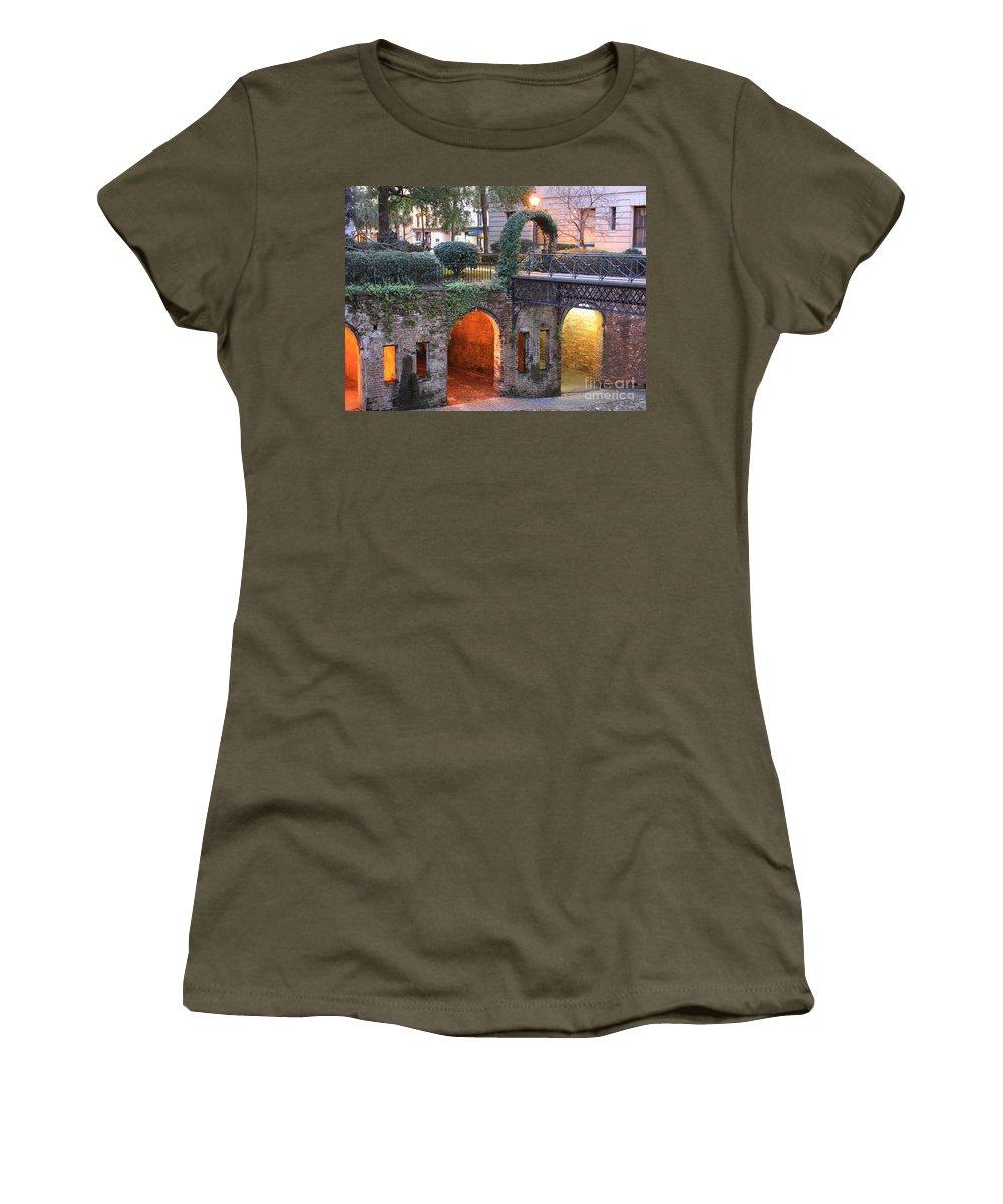 Savannah Women's T-Shirt featuring the photograph Savannah Lights by Carol Groenen