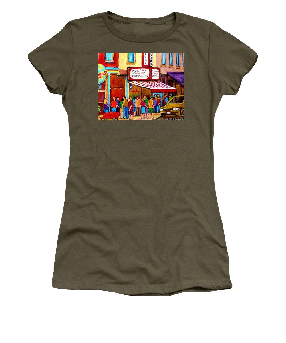 Schwartzs Deli Women's T-Shirt (Athletic Fit) featuring the painting Schwartzs Hebrew Deli Montreal Streetscene by Carole Spandau