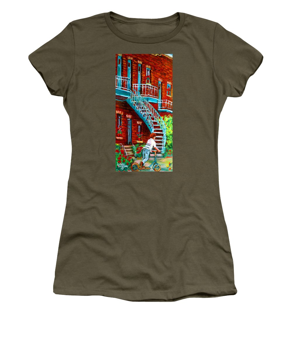 Debullion Street Women's T-Shirt (Athletic Fit) featuring the painting Scooter Ride Along Coloniale Street by Carole Spandau