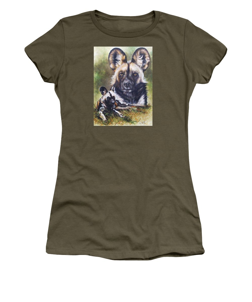 Wild Dogs Women's T-Shirt (Athletic Fit) featuring the mixed media Scoundrel by Barbara Keith