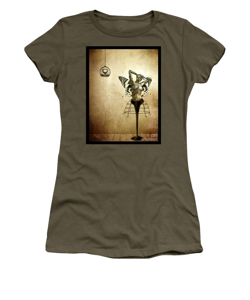 Digital Women's T-Shirt (Athletic Fit) featuring the painting Scream Of A Butterfly by Jacky Gerritsen
