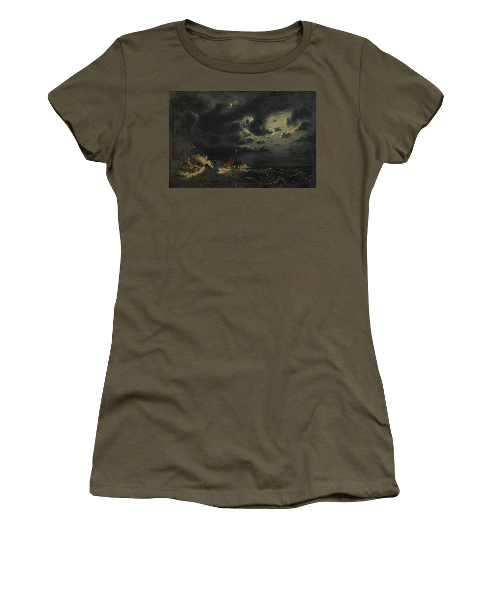 Marcus Larson 1825-1864 Sea In The Moonlight With The Lighthouse And Buring Boat Women's T-Shirt (Athletic Fit) featuring the painting Sea In The Moonlight by Marcus Larson