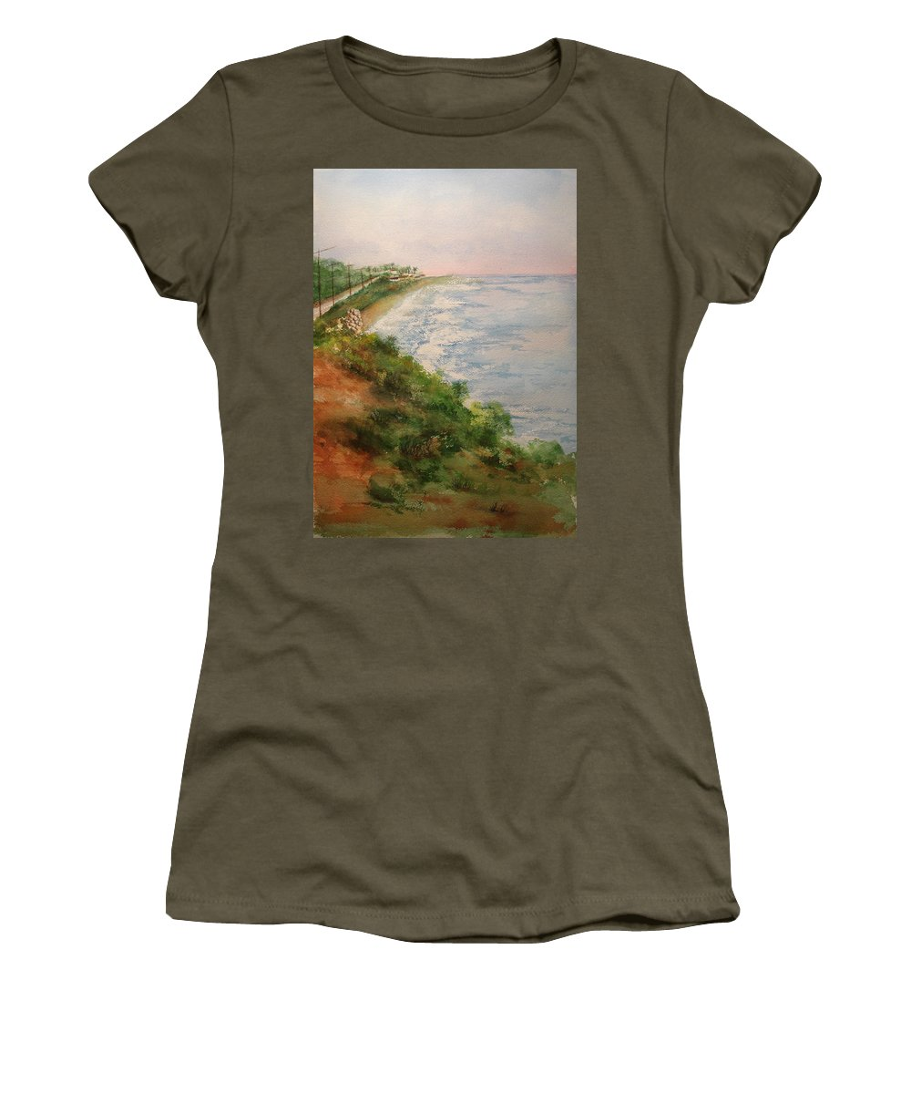 Landscape Women's T-Shirt featuring the painting Sea Of Dreams by Debbie Lewis