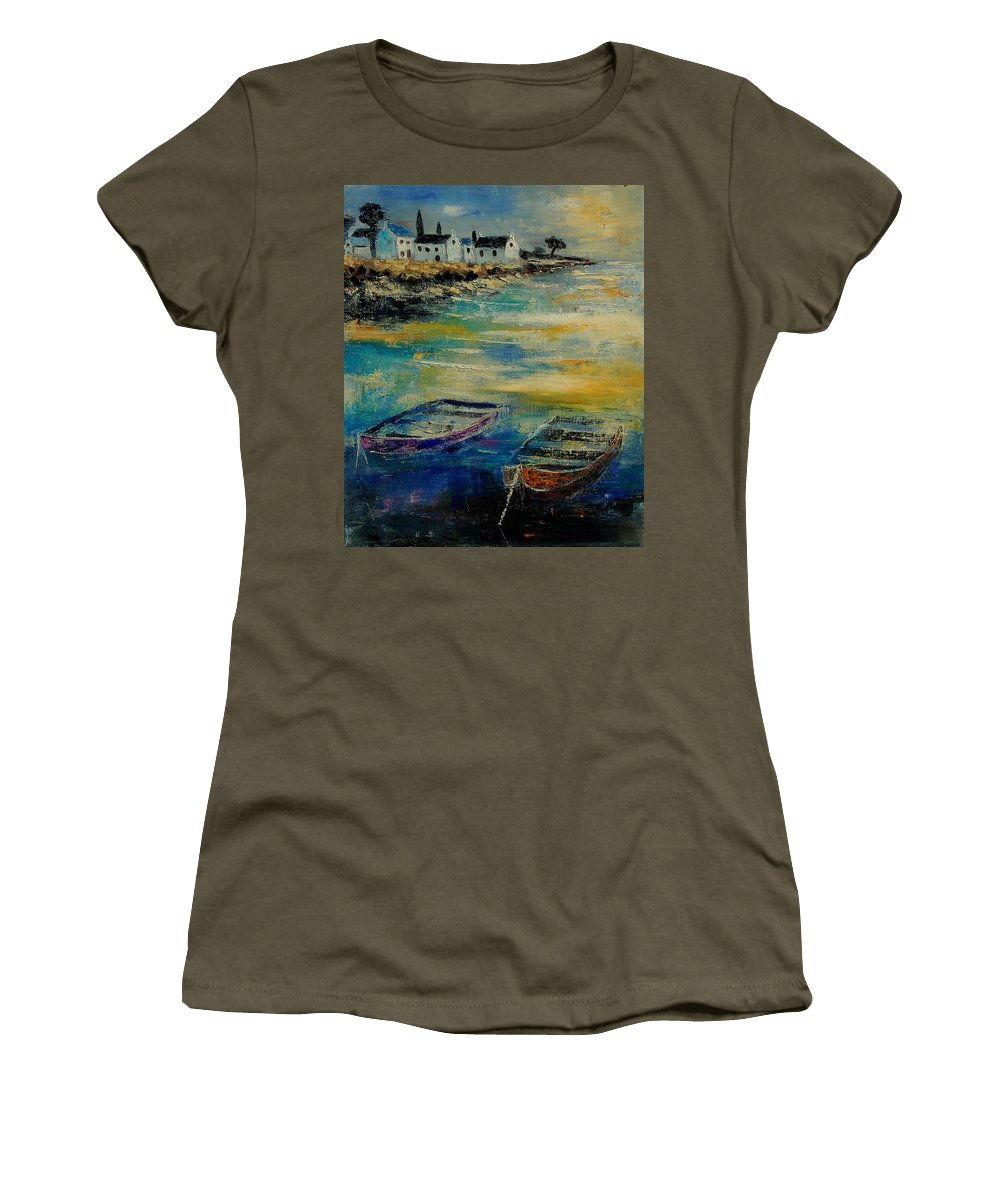 Sea Women's T-Shirt (Athletic Fit) featuring the painting Seascape 5614569 by Pol Ledent