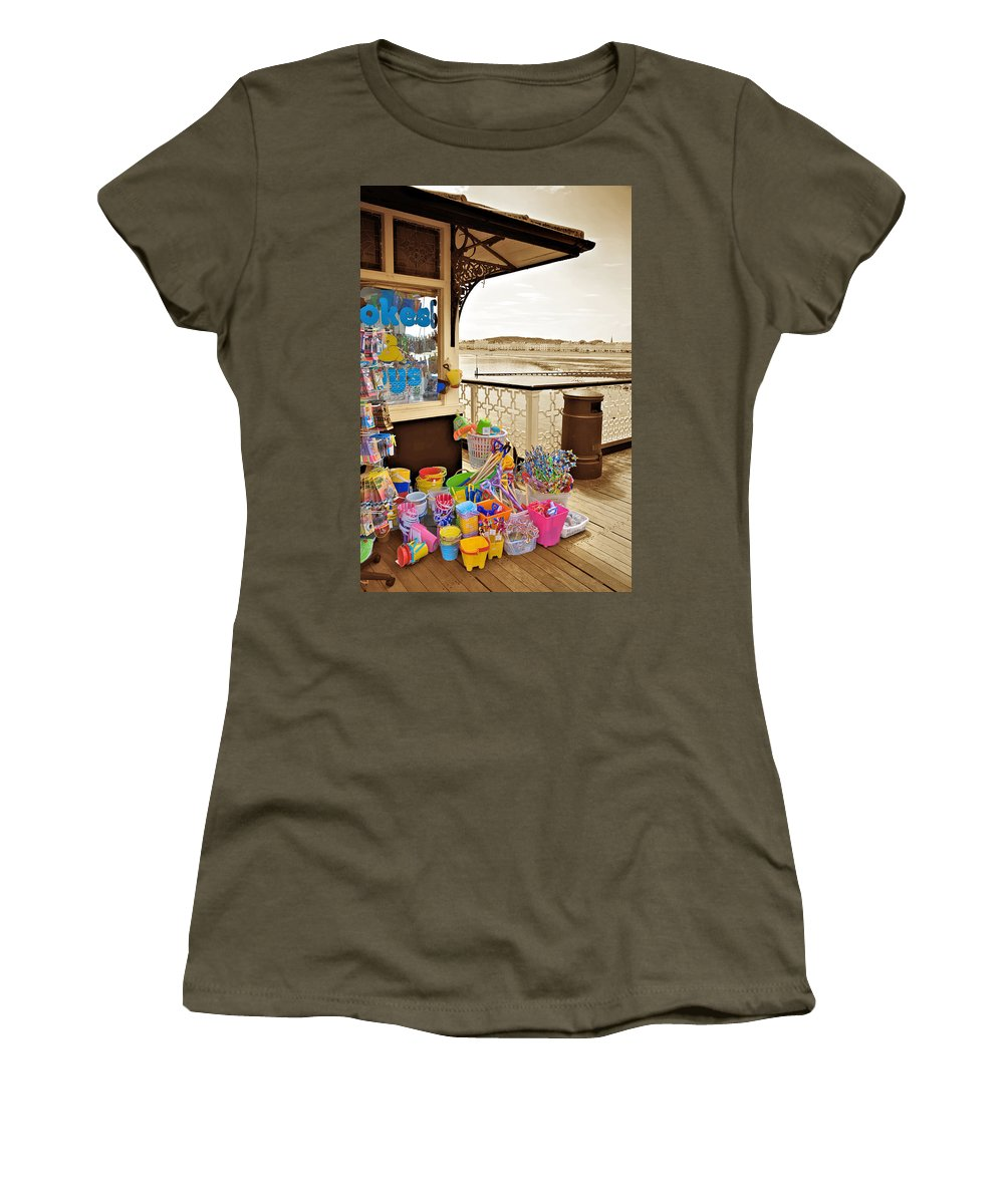 Seaside Women's T-Shirt (Athletic Fit) featuring the photograph Seaside Buckets And Spades For Sale On Llandudno Pier by Mal Bray