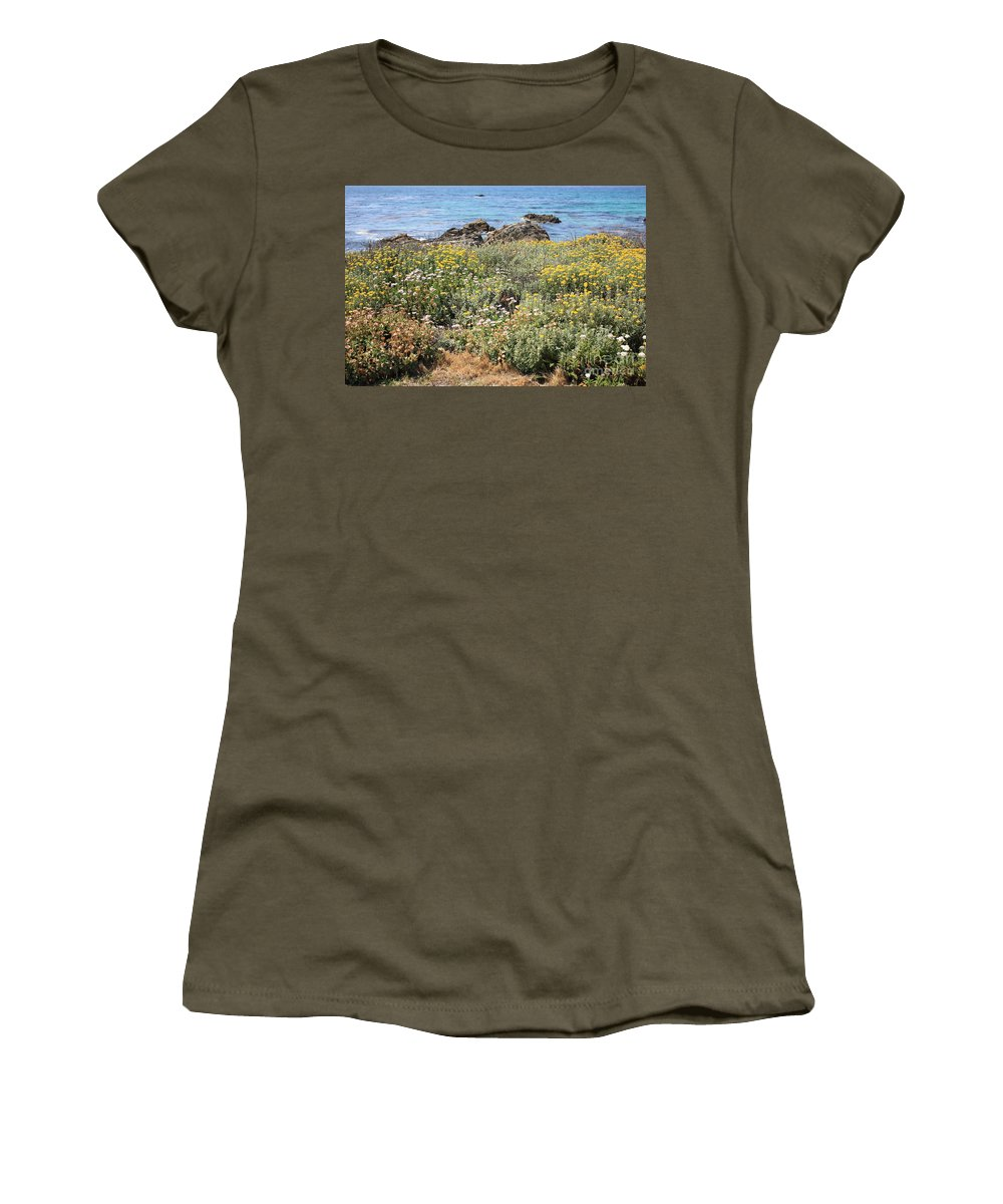 Seaside Flowers Women's T-Shirt featuring the photograph Seaside Flowers by Carol Groenen