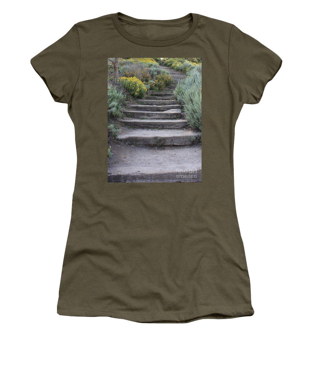 Seaside Steps Women's T-Shirt featuring the photograph Seaside Steps by Carol Groenen