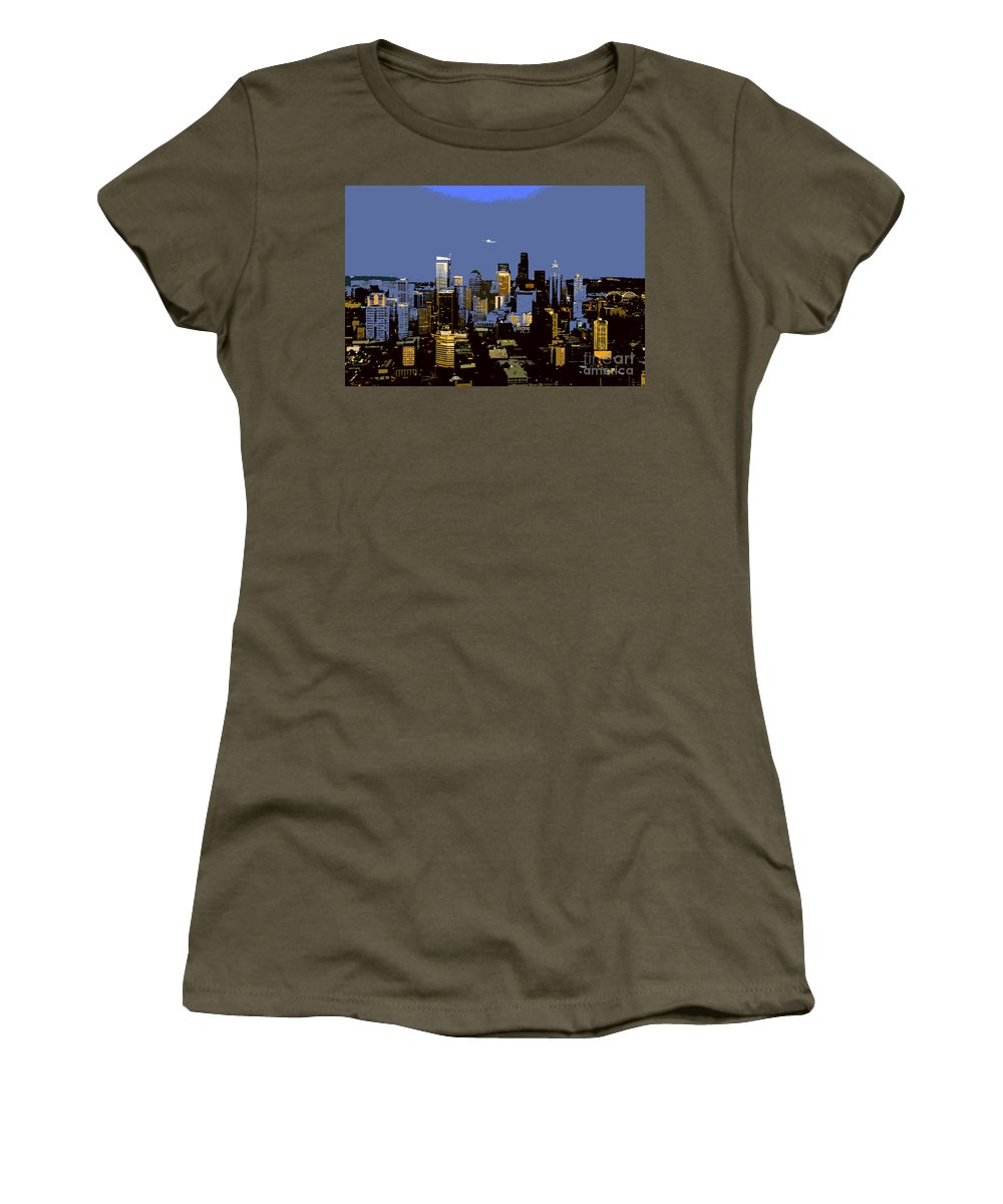 Seattle Washington Women's T-Shirt featuring the painting Seattle City by David Lee Thompson