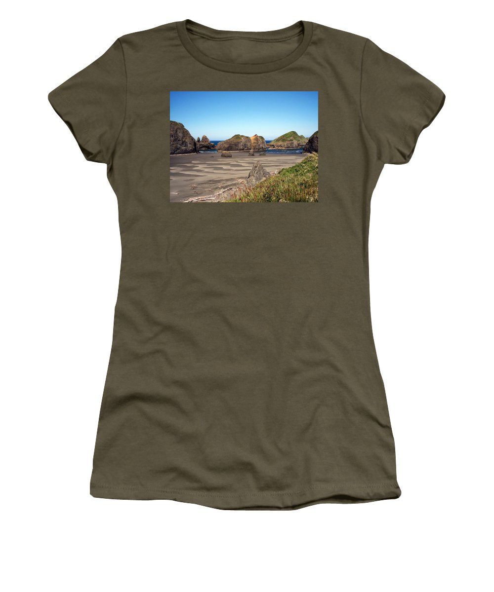 Oregon Women's T-Shirt featuring the photograph Secluded Beach by Adrienne Wilson
