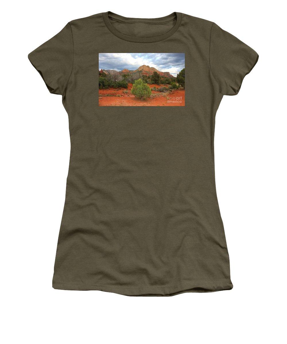 Sandstone Women's T-Shirt featuring the photograph Sedona Balance by Carol Groenen