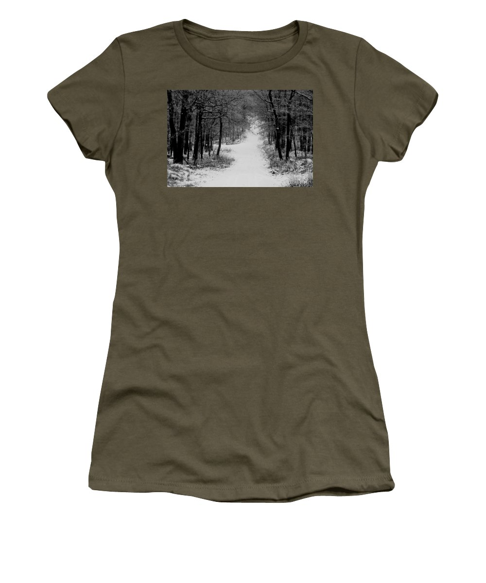 Snow Women's T-Shirt (Athletic Fit) featuring the photograph See Where It Leads. by Jean Macaluso