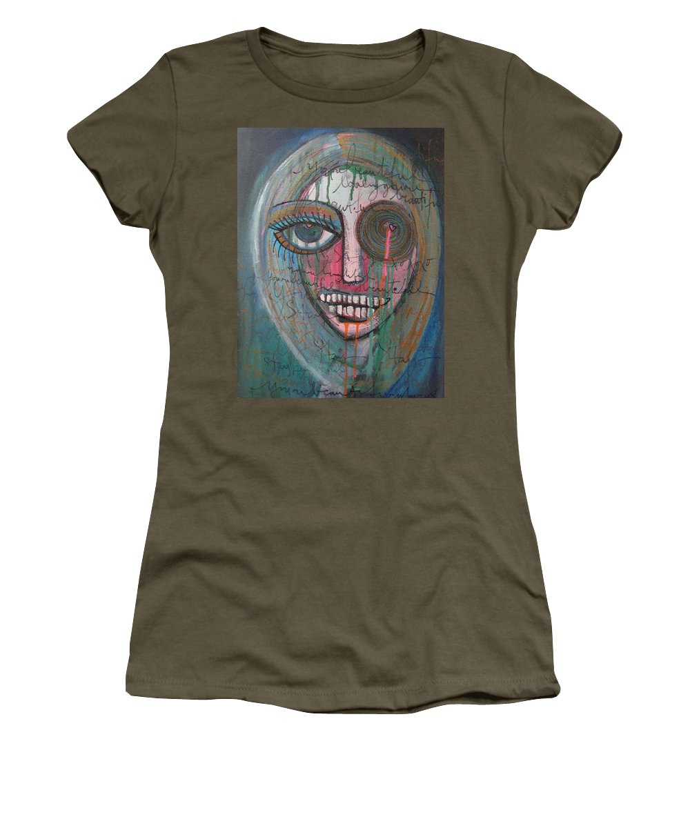 Self Portraits Women's T-Shirt (Athletic Fit) featuring the painting Self Portrait Youre Beautiful by Laurie Maves ART