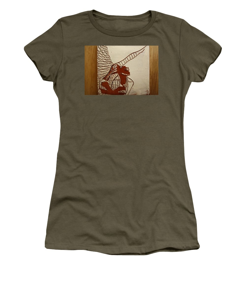 Jesus Women's T-Shirt (Athletic Fit) featuring the ceramic art Selina - Tile by Gloria Ssali