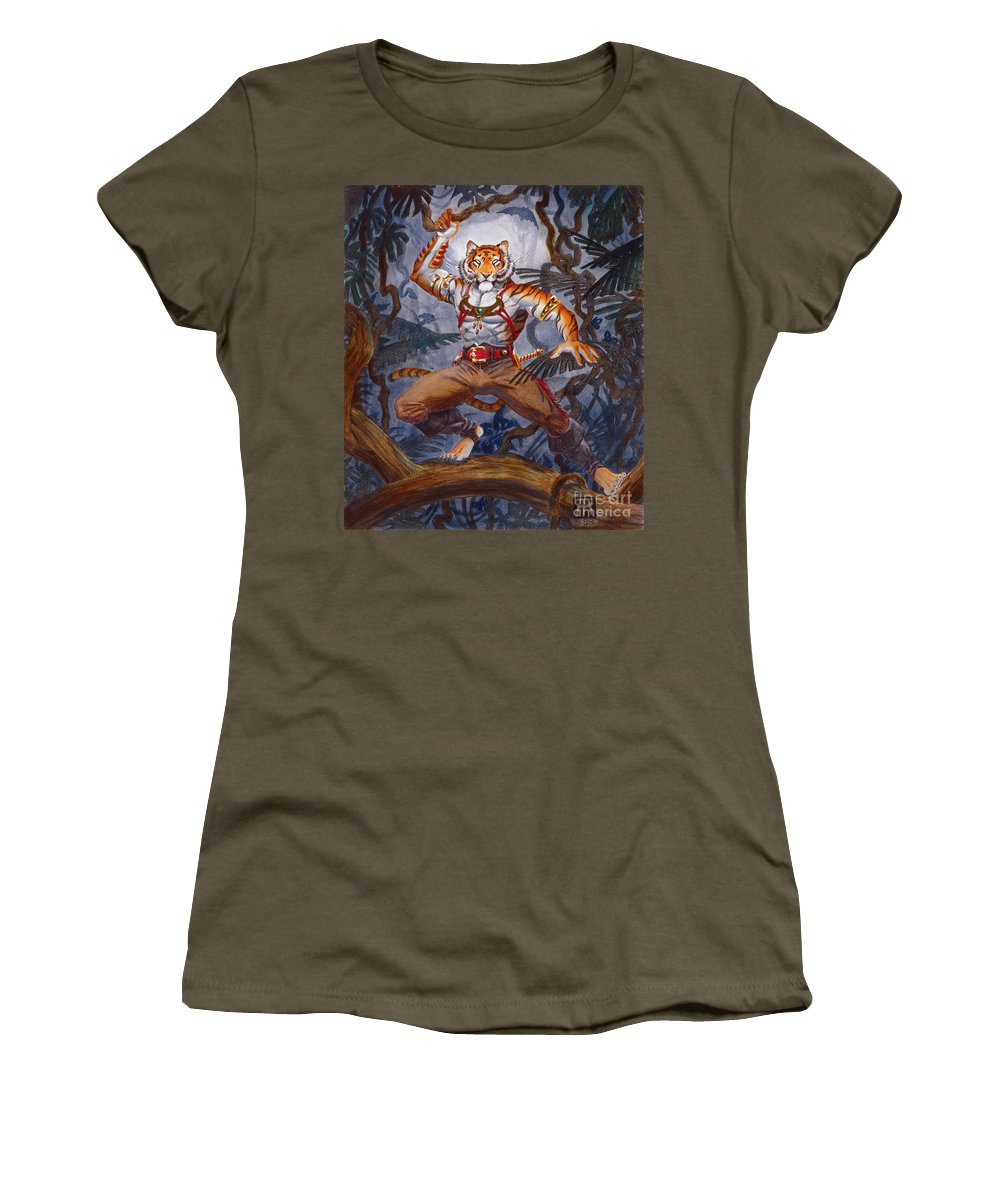 Cat Women's T-Shirt (Athletic Fit) featuring the painting Sense Dark by Melissa A Benson