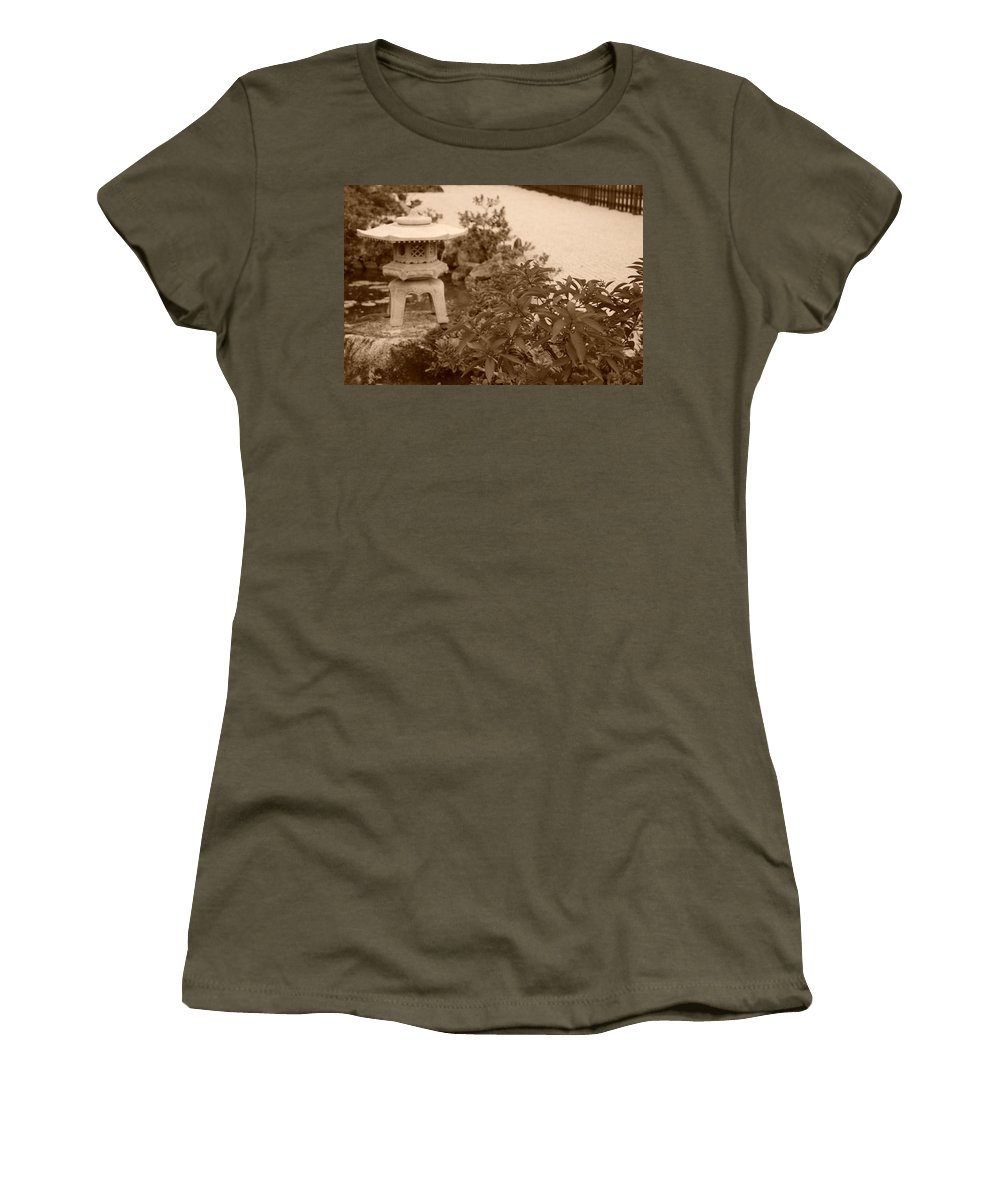 Sepia Women's T-Shirt (Athletic Fit) featuring the photograph Sepia Japanese Garden by Rob Hans