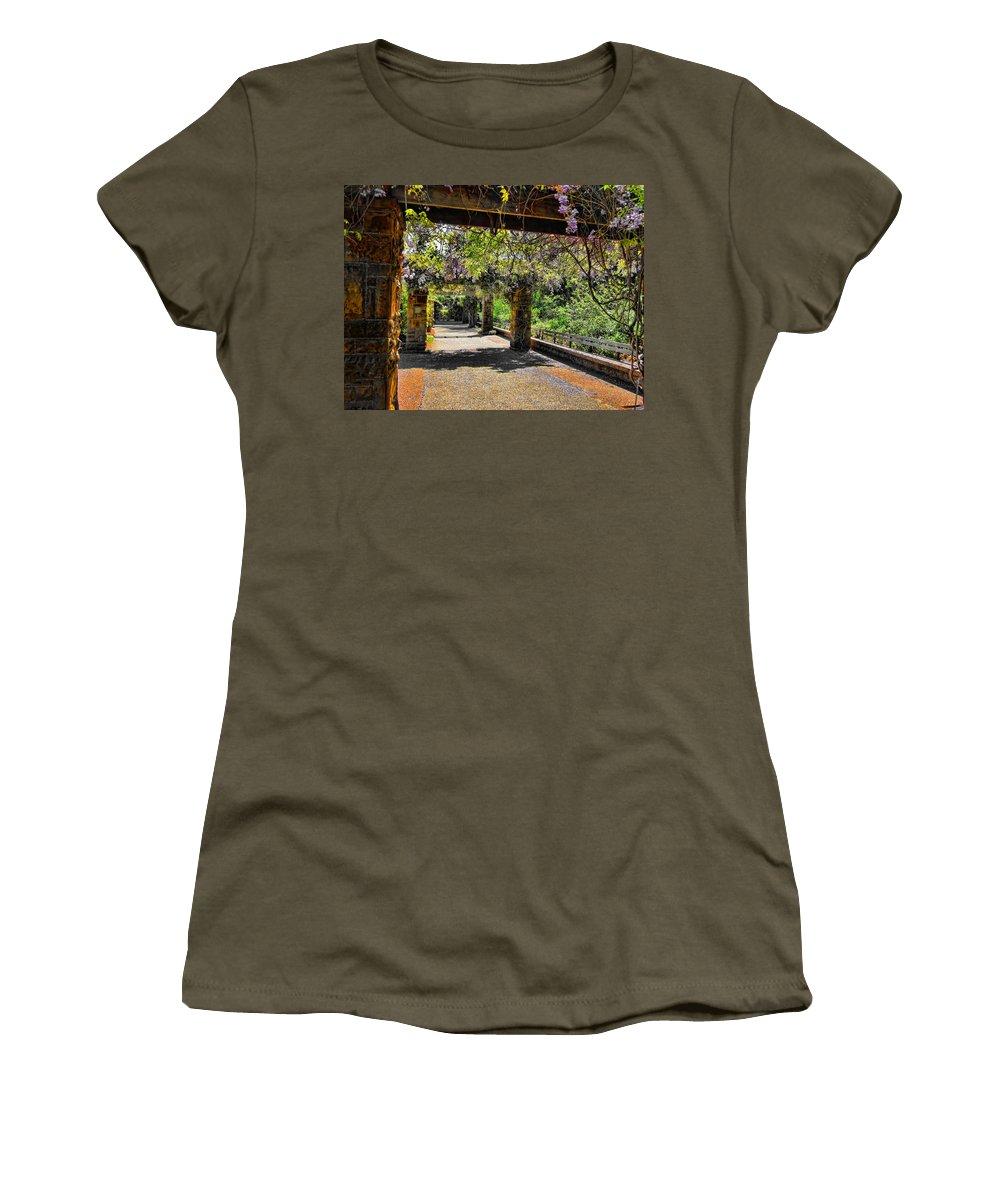 Walkway Women's T-Shirt featuring the photograph Serene Walkway by Douglas Barnard