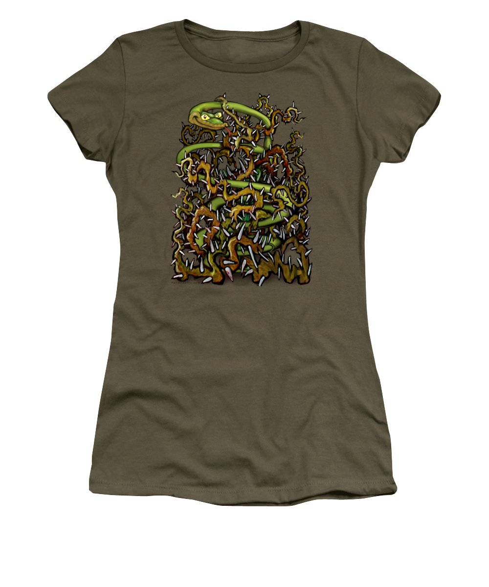 Serpent Women's T-Shirt (Athletic Fit) featuring the painting Serpent N Thorns by Kevin Middleton
