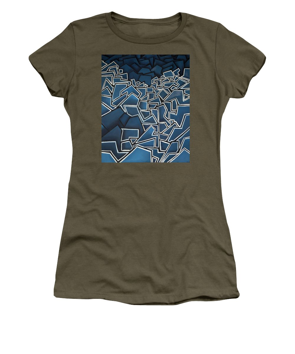 Abstract Women's T-Shirt (Athletic Fit) featuring the painting Shadderd Space by Thomas Valentine