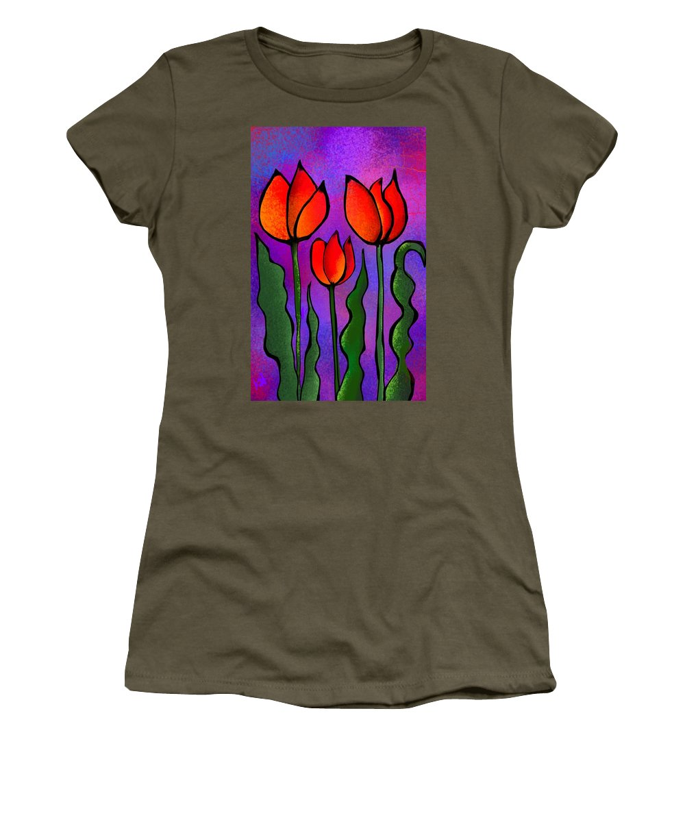 Flowers Women's T-Shirt (Athletic Fit) featuring the digital art Shades Of Tulips by Kathleen Hromada