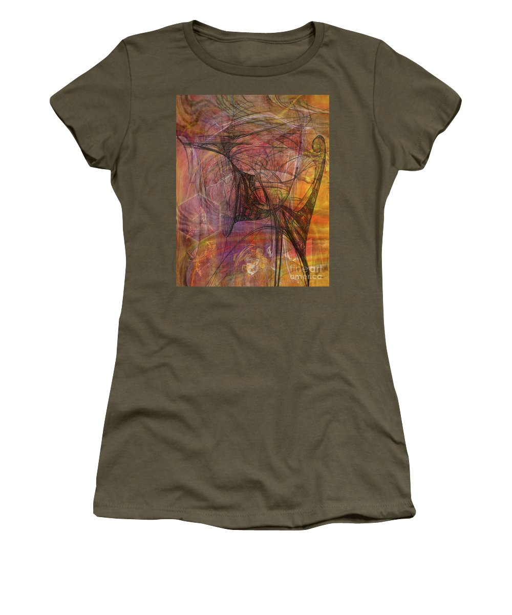 Shadow Dragon Women's T-Shirt (Athletic Fit) featuring the digital art Shadow Dragon by John Beck