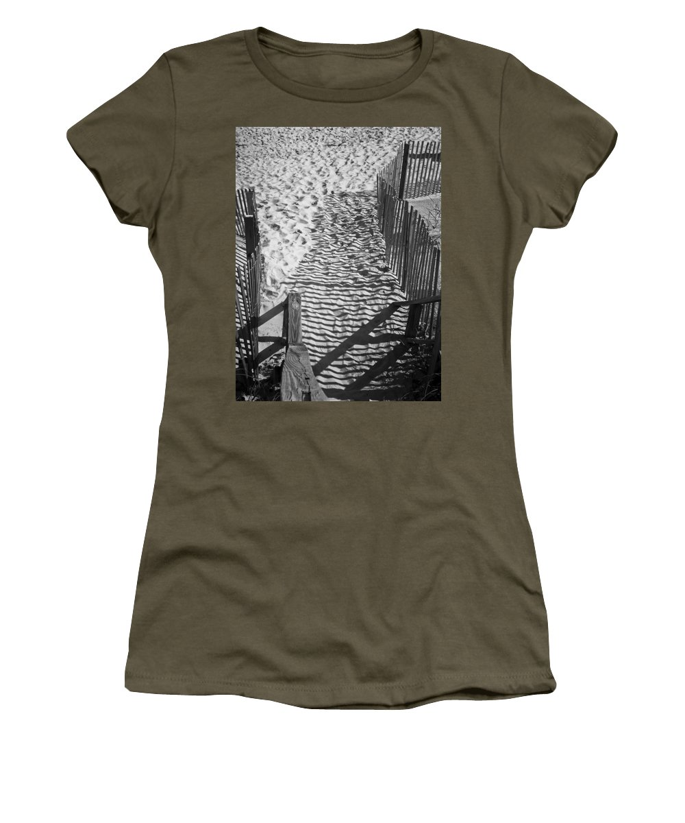 Shadow Women's T-Shirt featuring the photograph Shadows In The Sand by Teresa Mucha