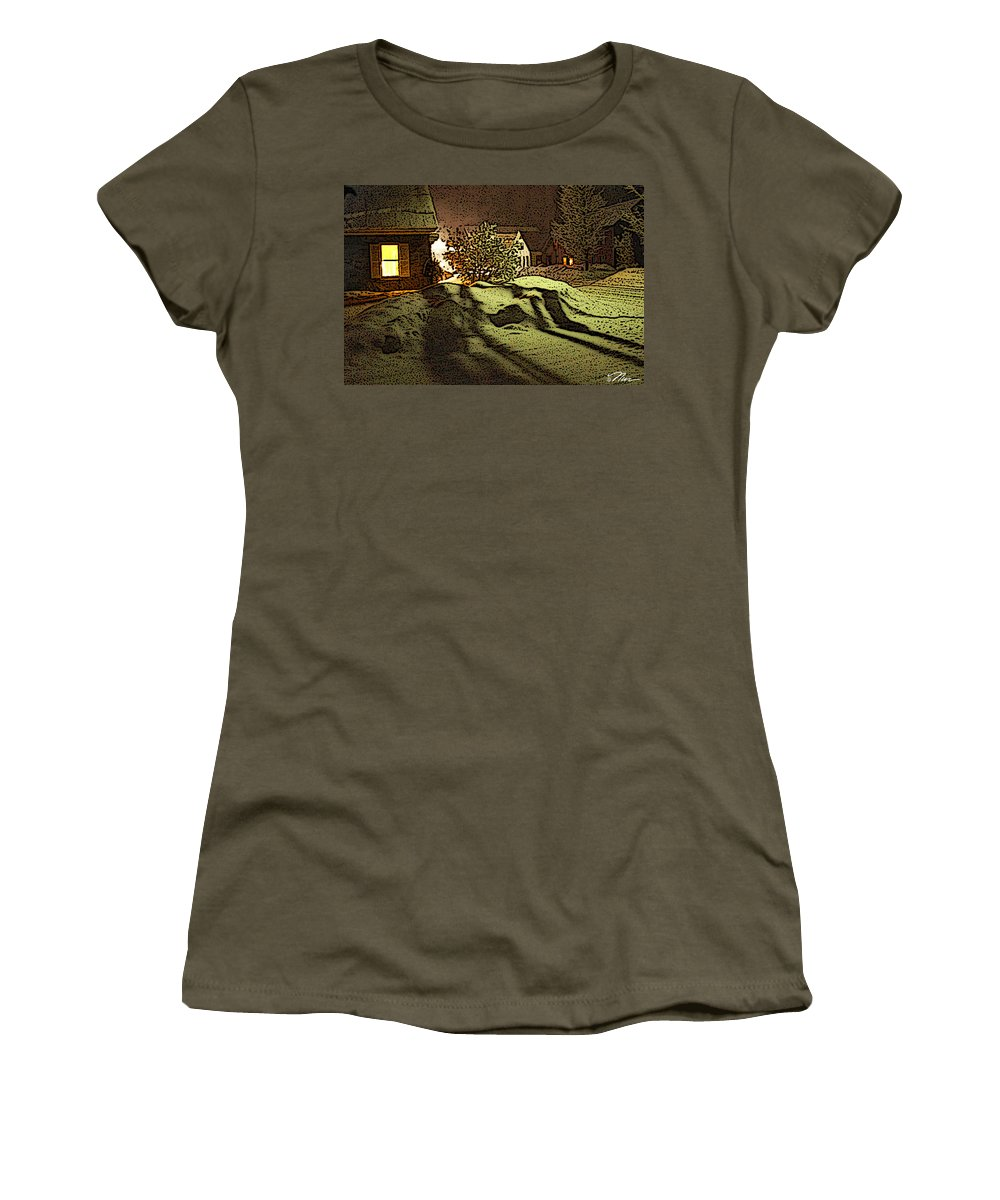 Vermont Women's T-Shirt featuring the photograph Shadows Of Winters Night by Nancy Griswold