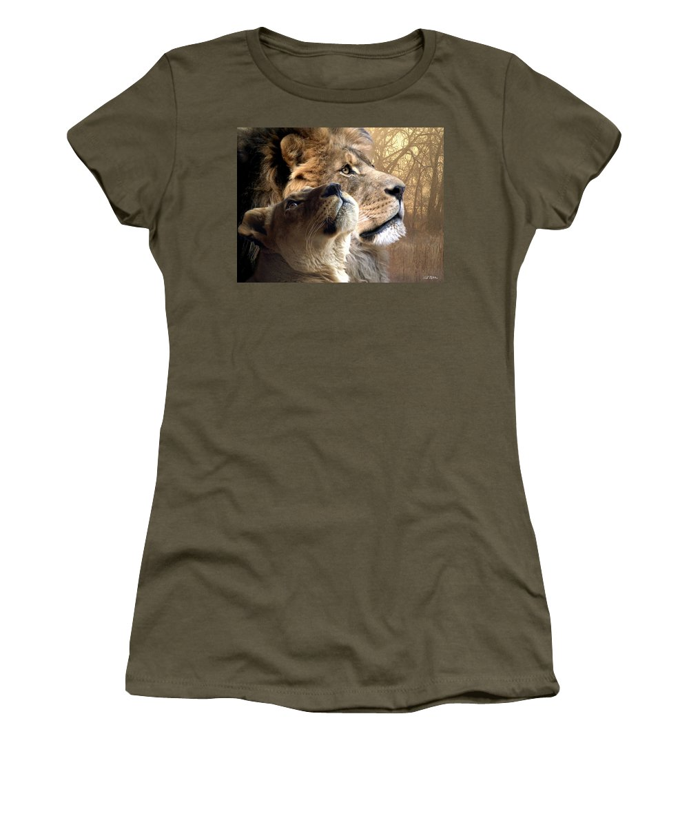 Lions Women's T-Shirt featuring the digital art Sharing The Vision by Bill Stephens