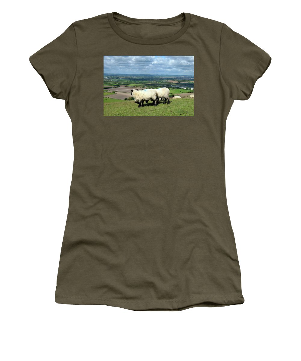 Sheep Women's T-Shirt featuring the photograph Sheep At Westbury Tor by Kurt Van Wagner