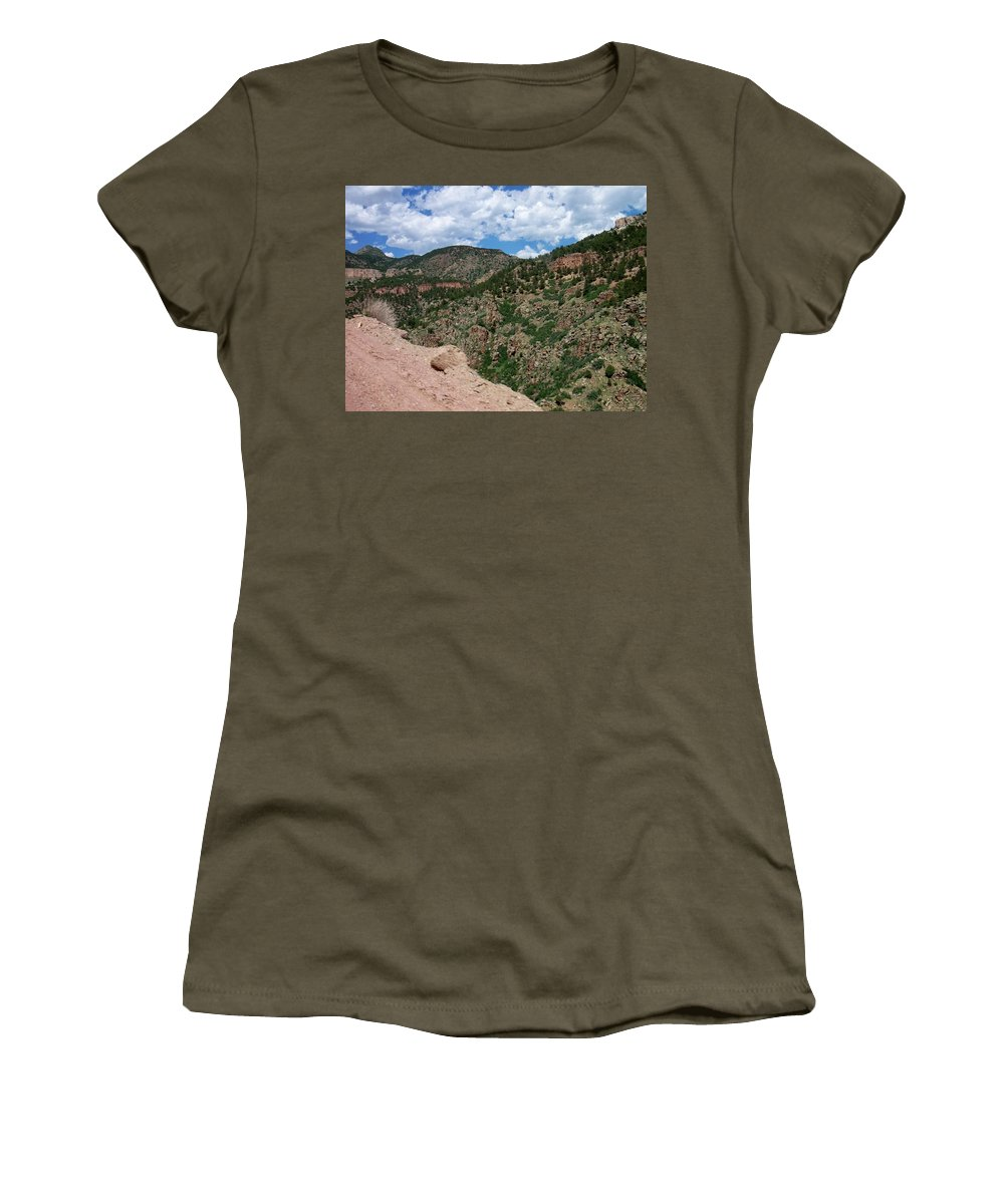 Shelf Road Women's T-Shirt (Athletic Fit) featuring the photograph Shelf Road Drop Off by Anita Burgermeister