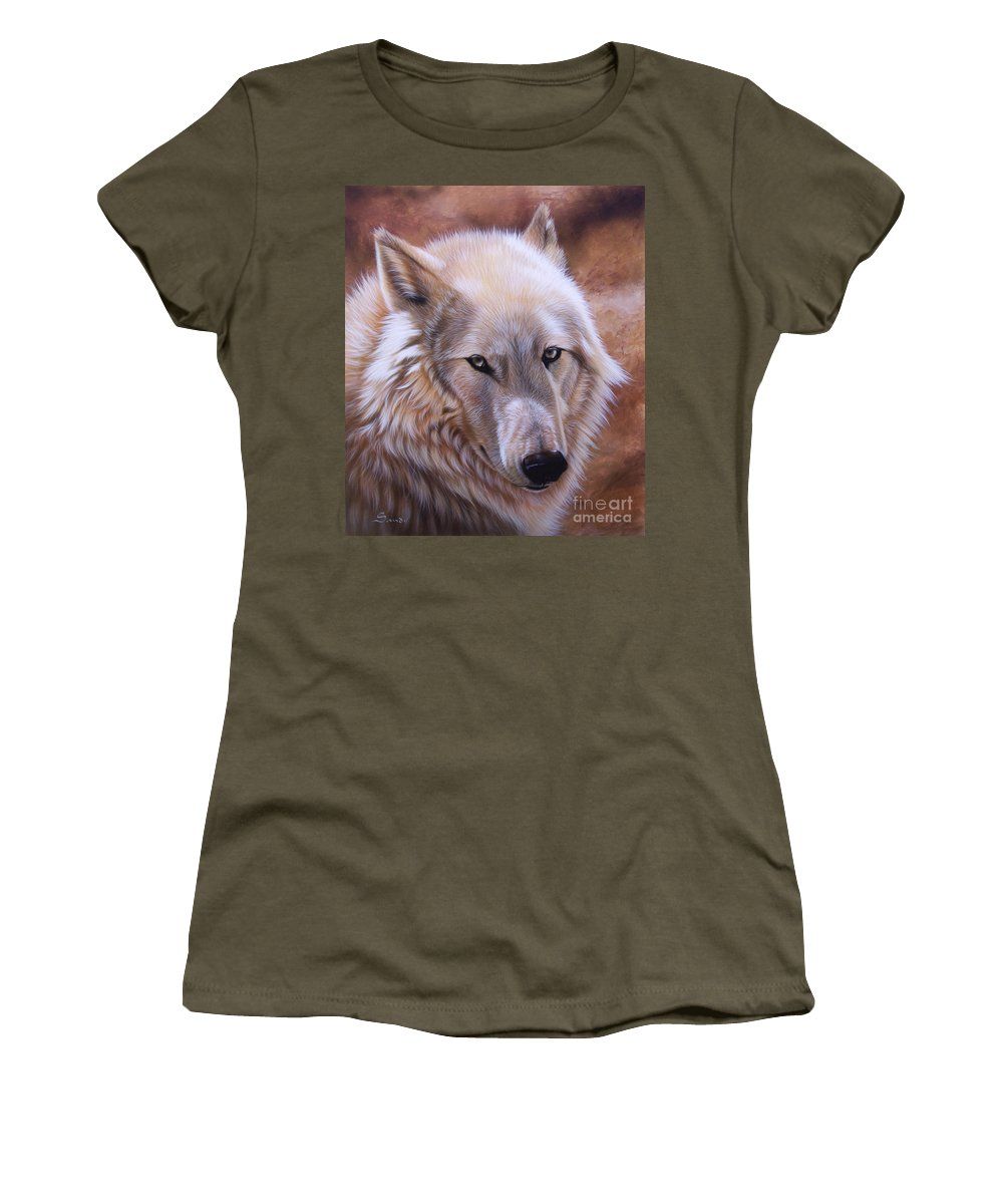 Acrylic Women's T-Shirt (Athletic Fit) featuring the painting Shine by Sandi Baker