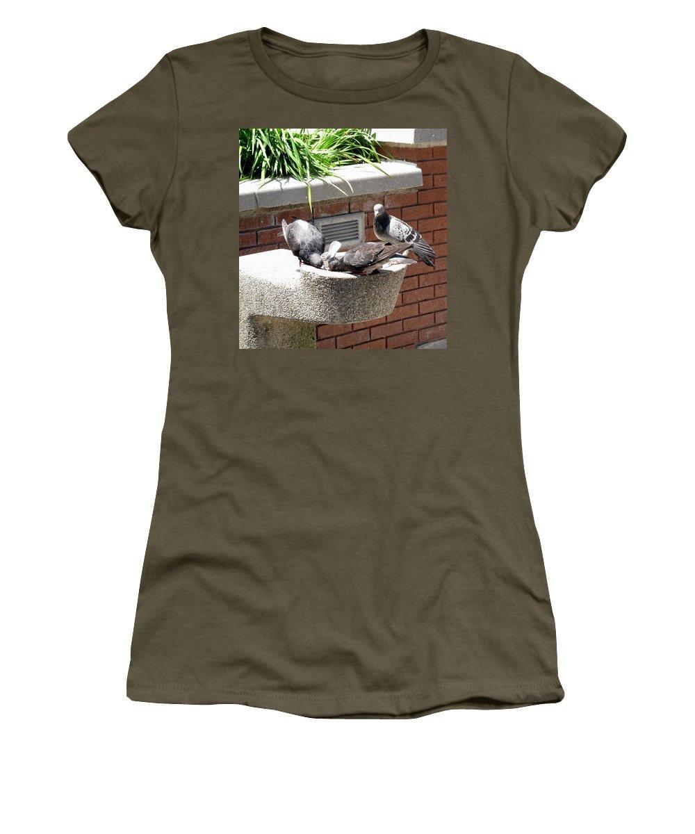 Pigeons Women's T-Shirt featuring the photograph Shooo by Ian MacDonald
