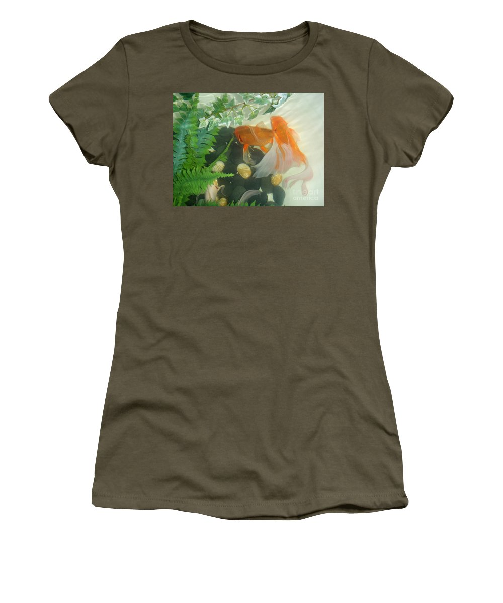 Orange Women's T-Shirt featuring the photograph Siamese Fighting Fish 2 by Mary Deal