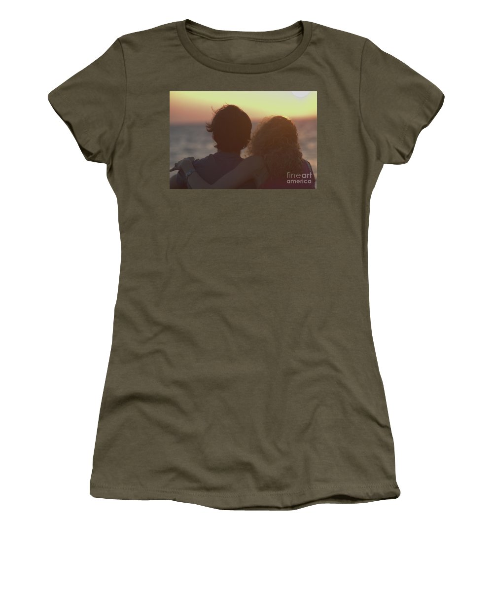 Silhouette Women's T-Shirt (Athletic Fit) featuring the photograph Silhouette Of A Romantic Couple by Ilan Rosen
