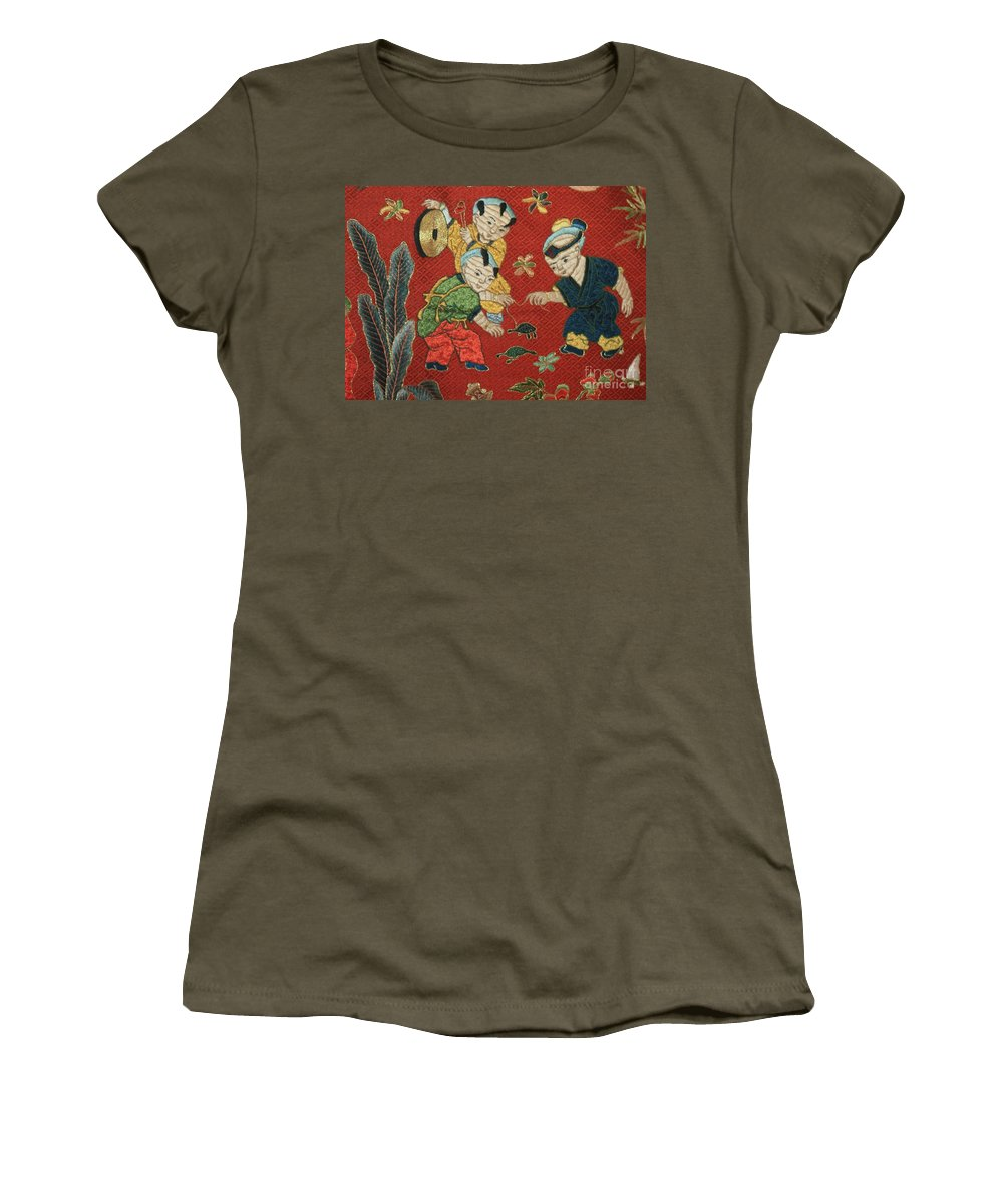 Children Playing Women's T-Shirt featuring the photograph Silk Robe - Children Playing With Turtle by Carol Groenen