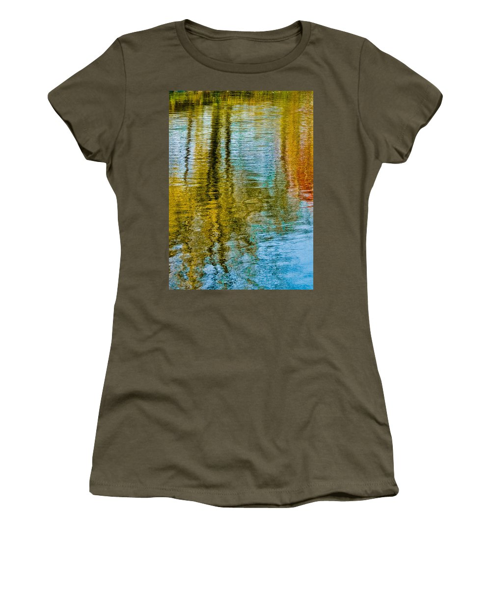Silver Women's T-Shirt (Athletic Fit) featuring the photograph Silver Lake Autum Tree Reflections by Michael Bessler