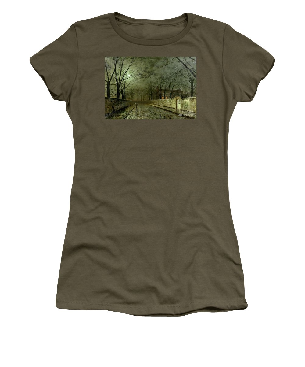 Silver Moonlight Women's T-Shirt featuring the painting Silver Moonlight by John Atkinson Grimshaw
