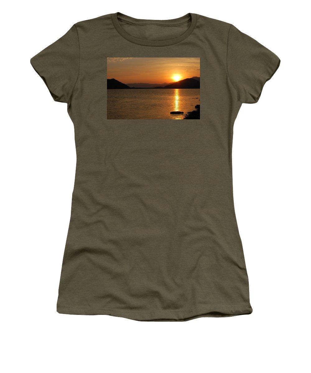 Silverwood Lake Women's T-Shirt featuring the photograph Silverwood Sunrise by Christine Owens