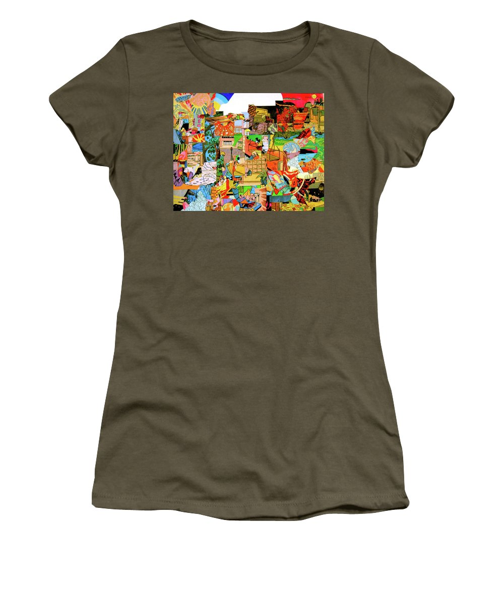 Comic Book Cut-up Nate Henricks 2016 Women's T-Shirt (Athletic Fit) featuring the mixed media Simultaneous Dimensions #1 by Nate Henricks