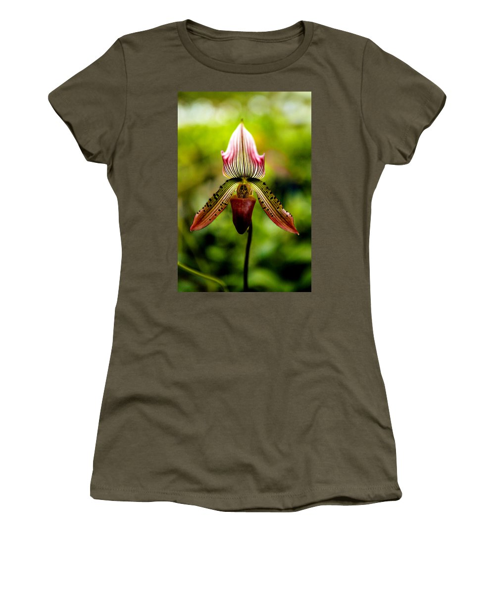 Orchid Women's T-Shirt (Athletic Fit) featuring the photograph Singular Beauty by Marilyn Hunt