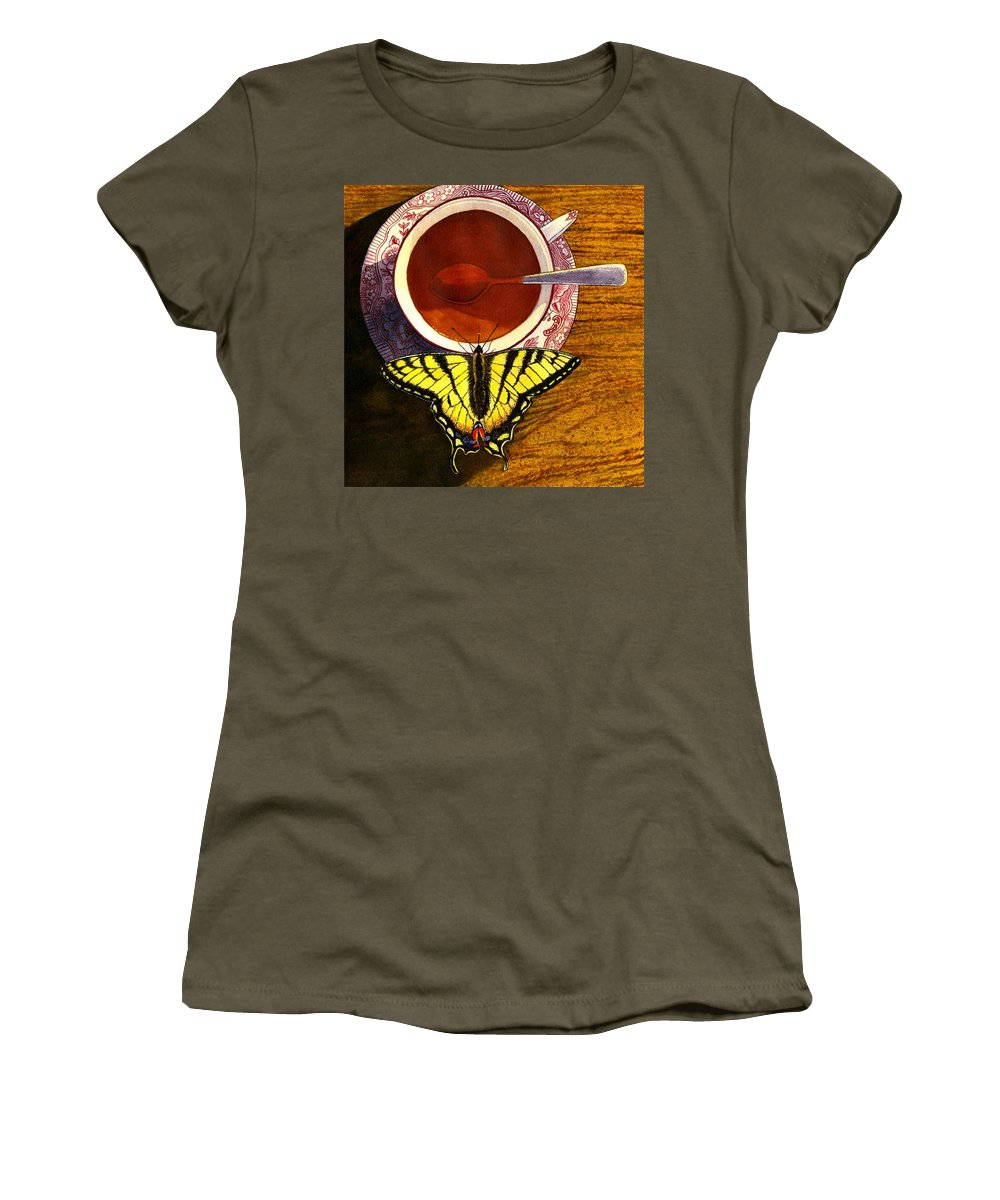 Butterfly Women's T-Shirt featuring the painting Sippin by Catherine G McElroy