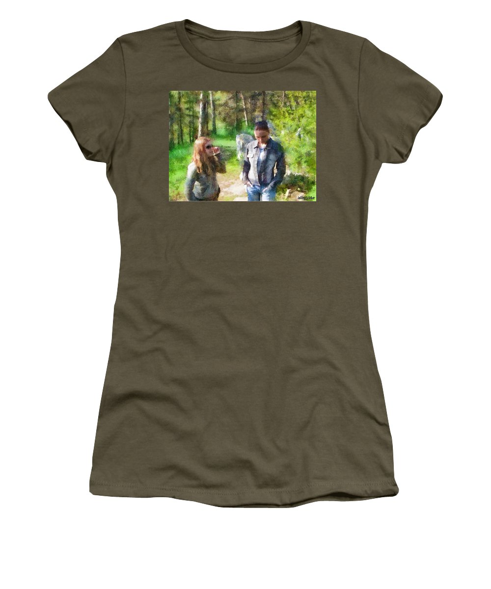 Sisters Women's T-Shirt featuring the painting Sisters by Jeffrey Kolker