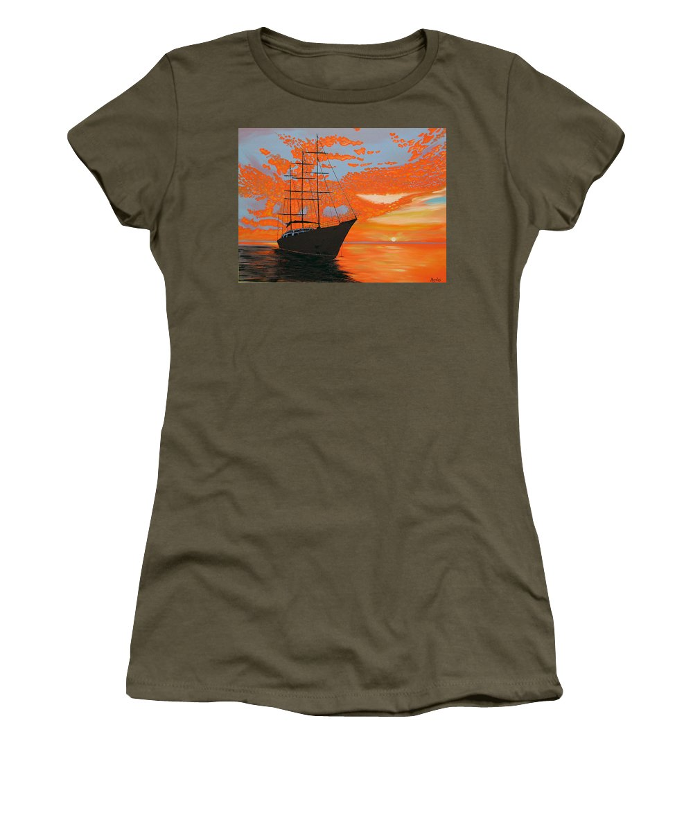 Seascape Women's T-Shirt featuring the painting Sittin' On The Bay by Marco Morales