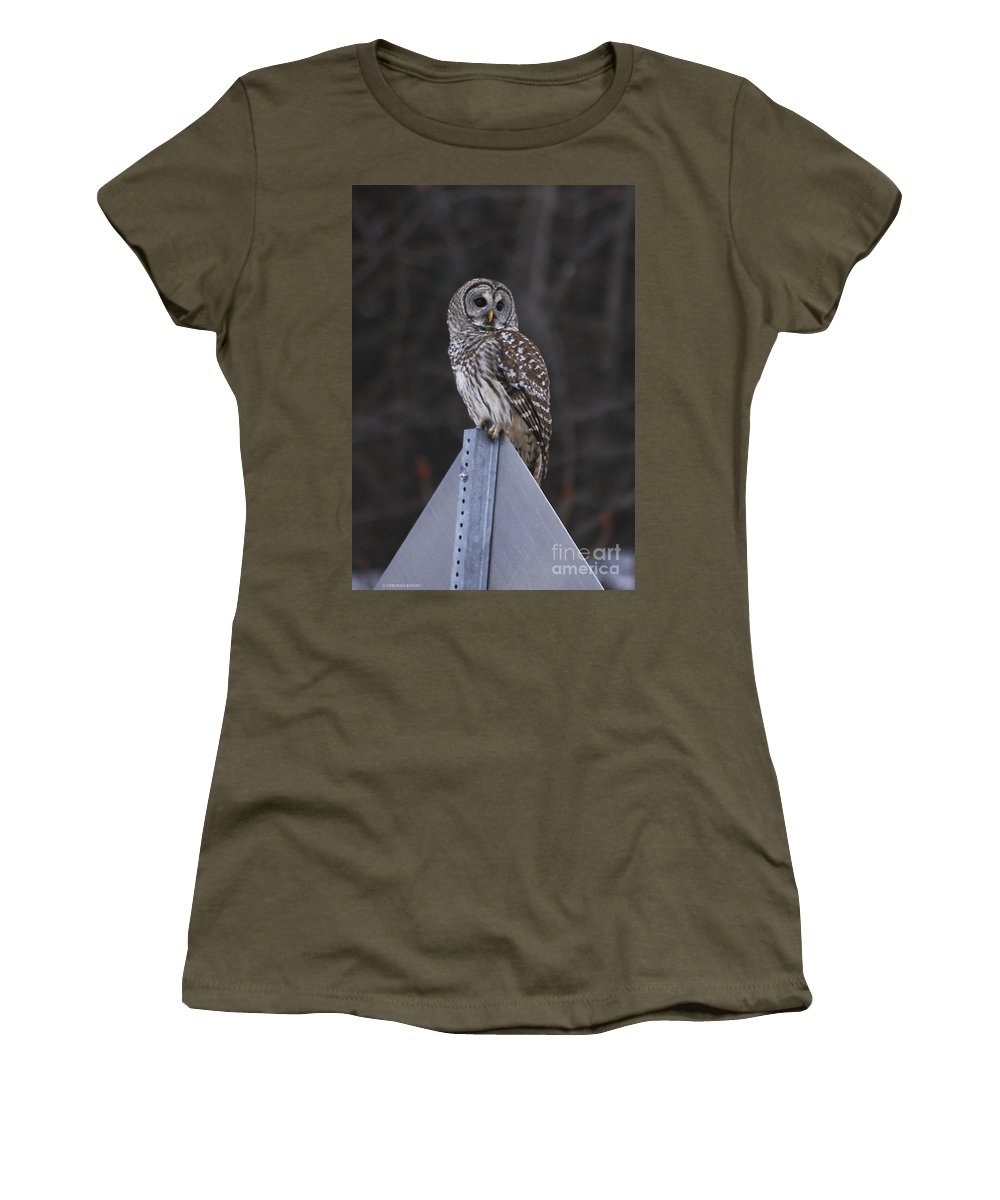Bird Women's T-Shirt (Athletic Fit) featuring the photograph Sitting On The Sign Post by Deborah Benoit