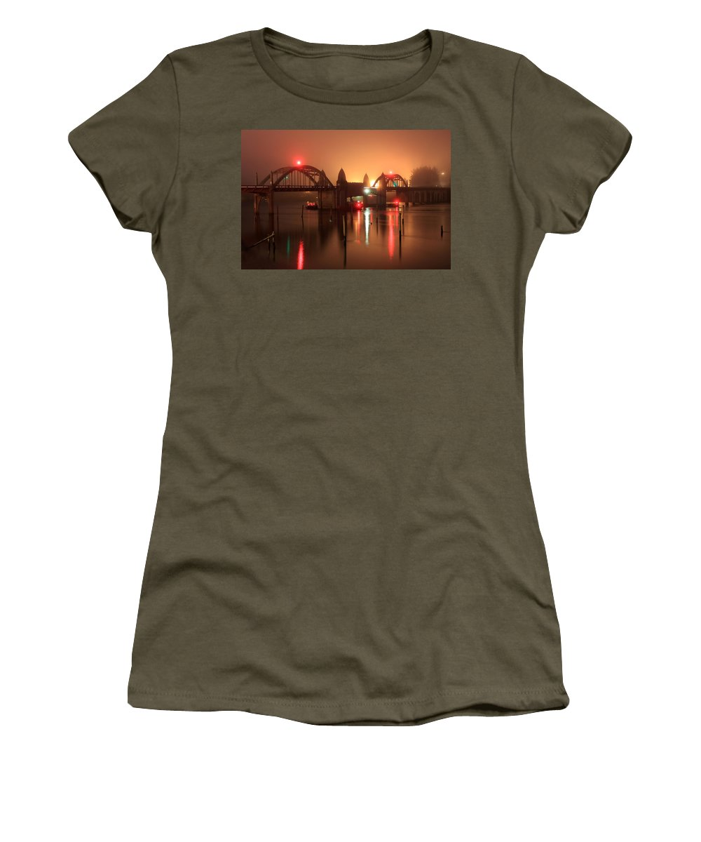 Night Bridge Women's T-Shirt (Athletic Fit) featuring the photograph Siuslaw River Bridge At Night by James Eddy